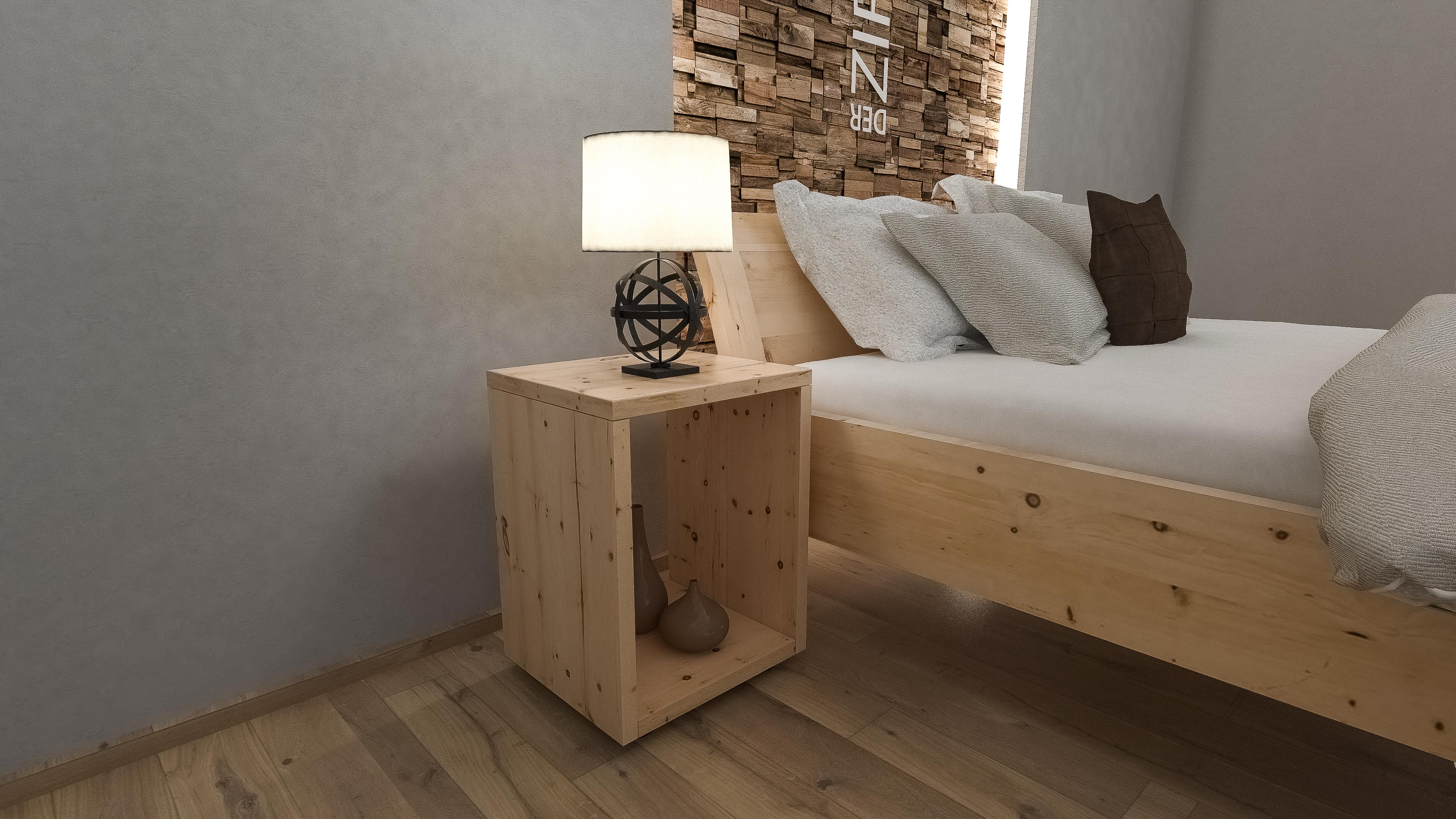 Nachtkästchen aus Zirbenholz